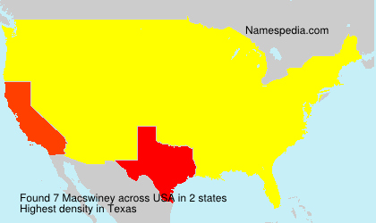 Surname Macswiney in USA