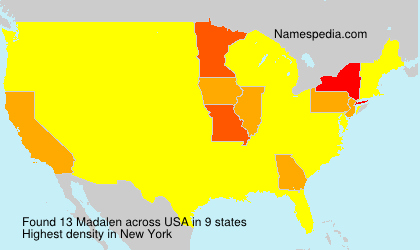 Surname Madalen in USA