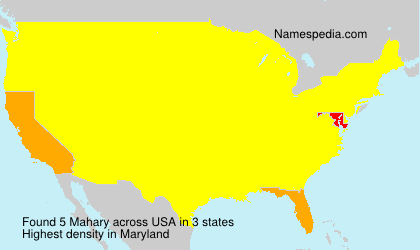 Surname Mahary in USA