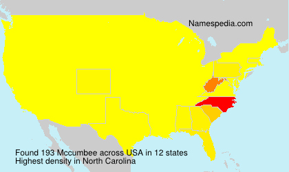 Surname Mccumbee in USA