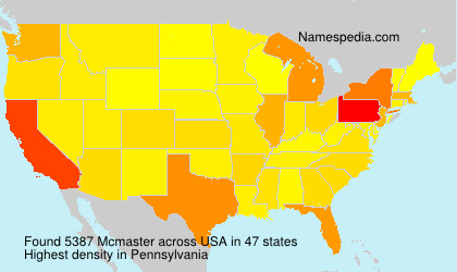 Surname Mcmaster in USA