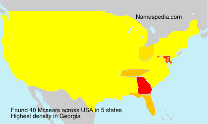 Surname Mcsears in USA