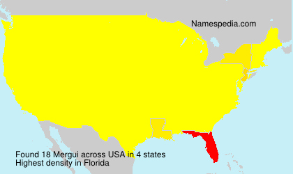 Surname Mergui in USA