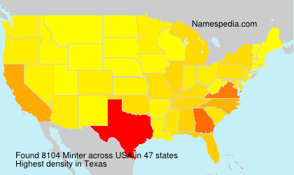 Surname Minter in USA