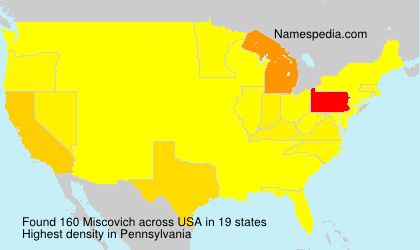 Surname Miscovich in USA