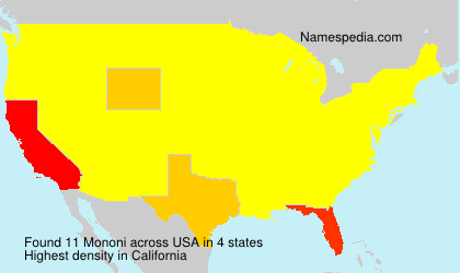 Surname Mononi in USA