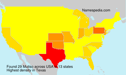 Surname Mutiso in USA