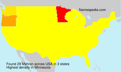 Surname Myhran in USA