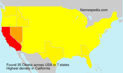 Surname Obieta in USA