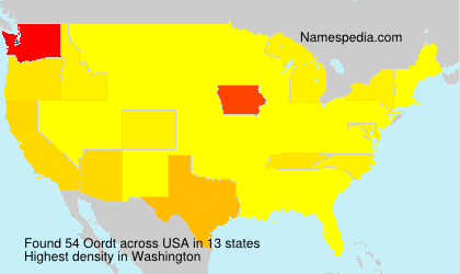 Surname Oordt in USA