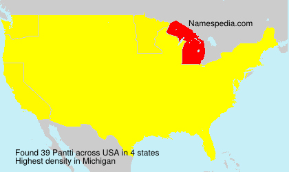 Surname Pantti in USA
