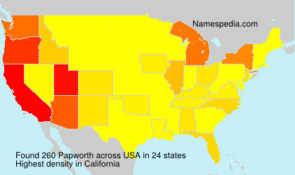 Surname Papworth in USA