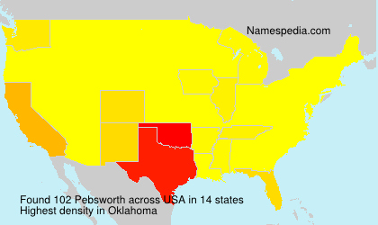 Surname Pebsworth in USA