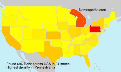 Surname Reist in USA