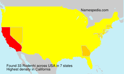 Surname Rodenhi in USA