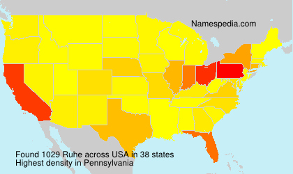 Surname Ruhe in USA