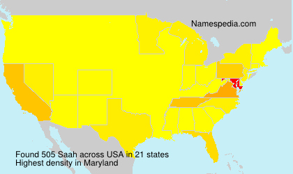 Surname Saah in USA