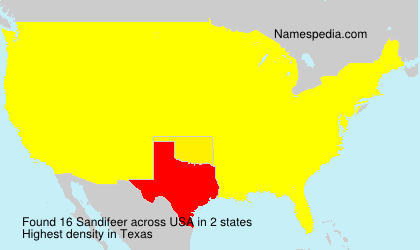 Surname Sandifeer in USA