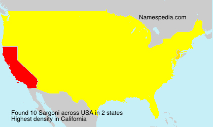 Surname Sargoni in USA