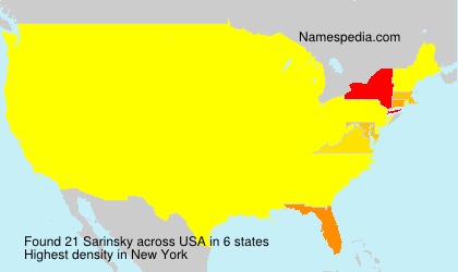 Surname Sarinsky in USA