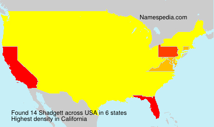 Surname Shadgett in USA