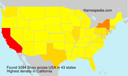 Surname Shao in USA