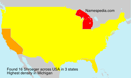 Surname Shroeger in USA