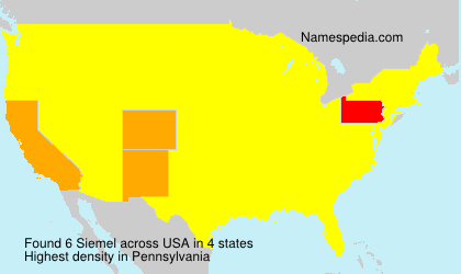 Surname Siemel in USA