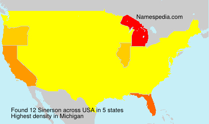 Surname Sinerson in USA