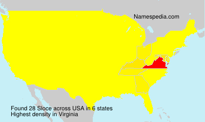 Surname Sloce in USA