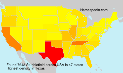 Surname Stubblefield in USA