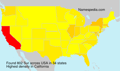 Surname Sur in USA