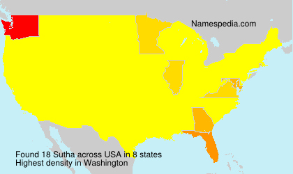 Surname Sutha in USA