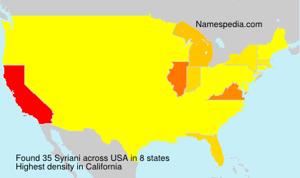 Surname Syriani in USA