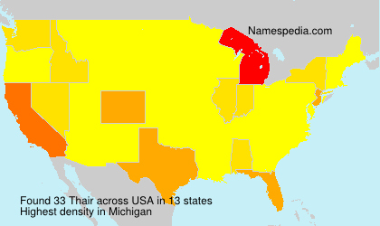 Surname Thair in USA