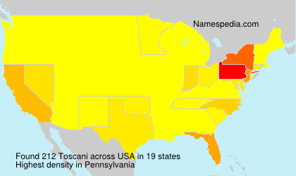 Surname Toscani in USA