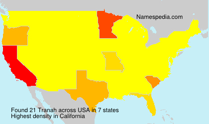 Surname Tranah in USA