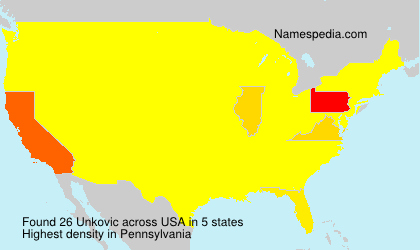 Surname Unkovic in USA