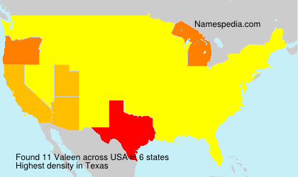 Surname Valeen in USA