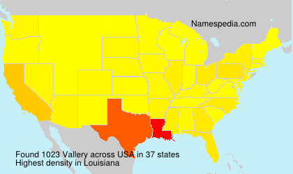 Surname Vallery in USA