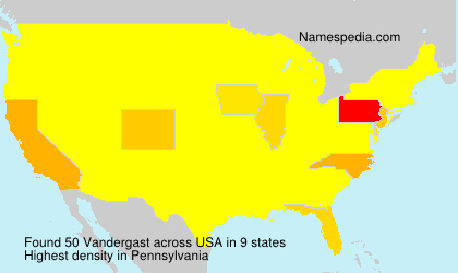 Surname Vandergast in USA
