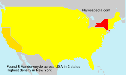 Surname Vanderweyde in USA