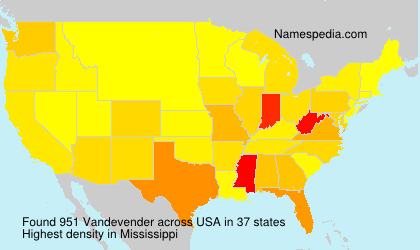 Surname Vandevender in USA