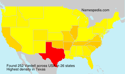 Surname Vardell in USA