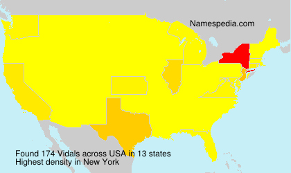 Surname Vidals in USA