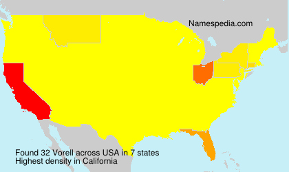 Surname Vorell in USA
