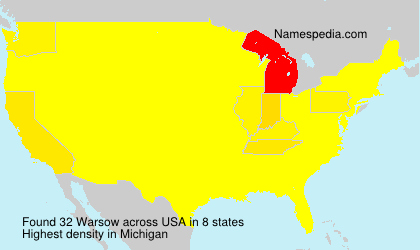 Surname Warsow in USA