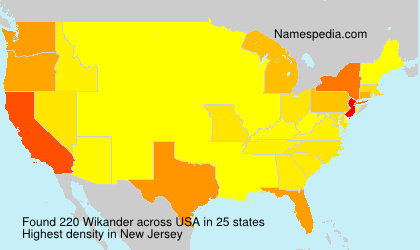 Surname Wikander in USA