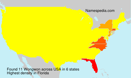 Surname Wongwon in USA