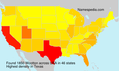 Surname Wootton in USA